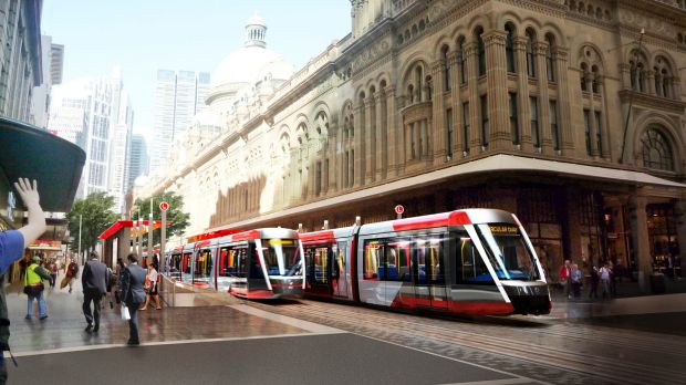 Artist's impression of the George Street light rail.