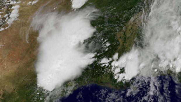 Satellite photo shows a weather system stretching from northern Mexico.