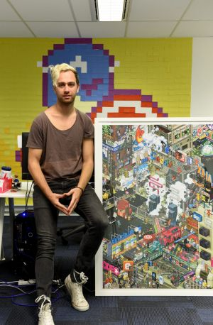 Fred Schebesta pictured with art he has invested in through his company, which are also tax write offs. 25th May ...