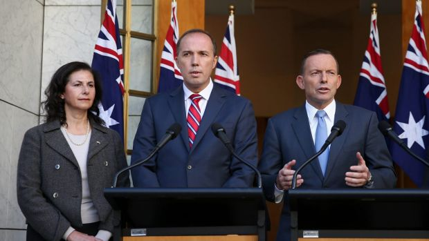 Senator Concetta Fierravanti-Wells, pictured with Immigration Minister Peter Dutton, and former prime minister Tony ...