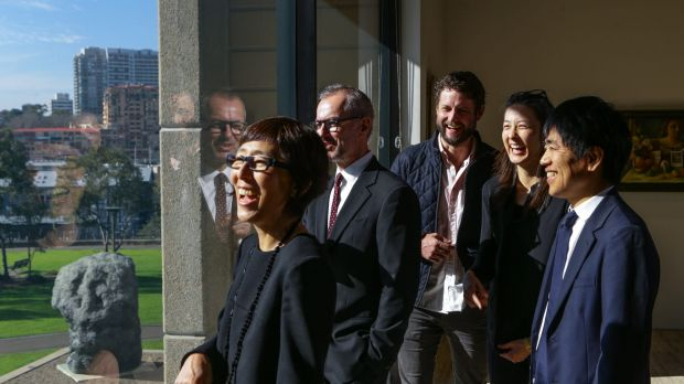 Winning architects of The Sydney Modern project from the architectural firm SANAA look out to the north of The Art ...