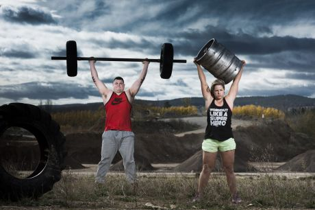 Canberra Strongman competitors Andrew Fraser and Ali Jaques.