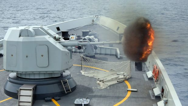 A Chinese missile frigate takes part in  exercises conducted by the Singaporean and Chinese navies in the South China ...