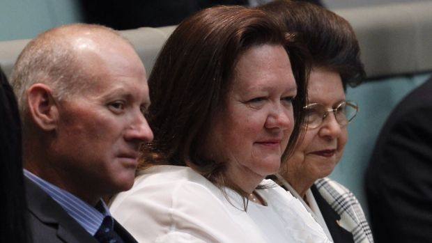 Gina Rinehart attended the maiden lower house speech of Agriculture Minister Barnaby Joyce in 2013.