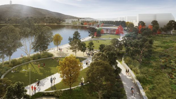 An artist's impression of the park to be developed as the first stage of the ACT government's City to the Lake ...