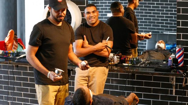 Former League player Lloyd Munro, and associate Jerome Smith (left), at South Boyz Cutz.