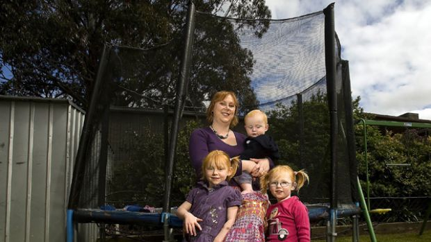 Former Catholic primary school teacher Rebecca Ireland, with son Sebastian and daughters Rhyanna and Dana.