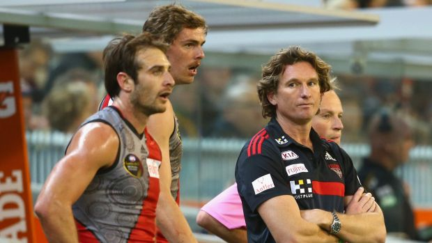 Jobe Watson, Joe Daniher and James Hird watch the game from the sidelines.