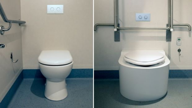 A normal toilet and one designed for obese patients.