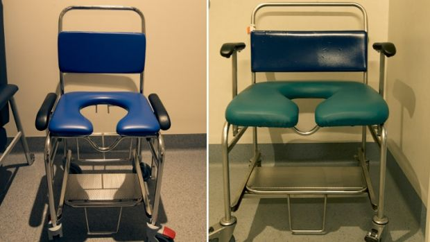 A normal wheelchair and one designed for obese patients.