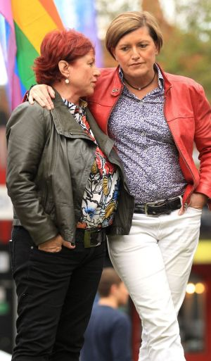 Prime Minister Tony Abbott's sister Christine Forster with her partner Virginia Edwards