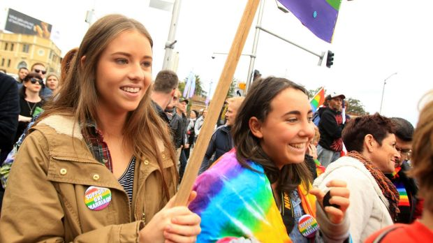 Jessica Feyder (left) and Samantha Ritchie lobby for marriage equality at a rally in Taylor Square, Darlinghurst, on Sunday.