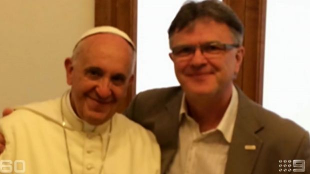 Peter Saunders with Pope Francis in a screengrab from <em> 60 Minutes</em>.