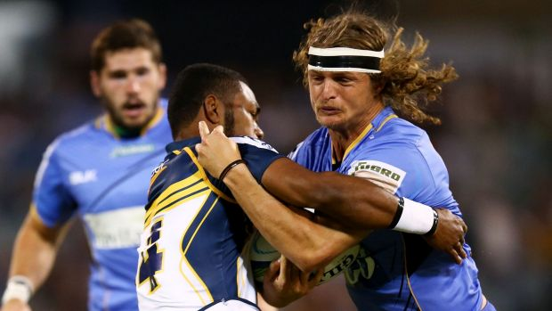 Far enough: Brumbies winger Henry Speight stops Force counterpart Nick Cummins during a match earlier this year.