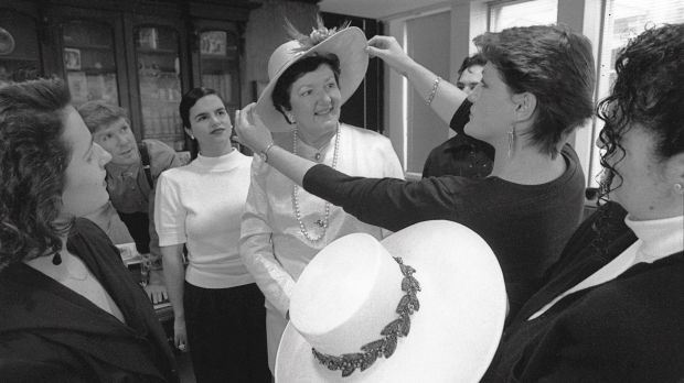 In 1991, Joan Kirner tries on one of two hats made for her by clothing studies students at Broadmeadows College of TAFE ...