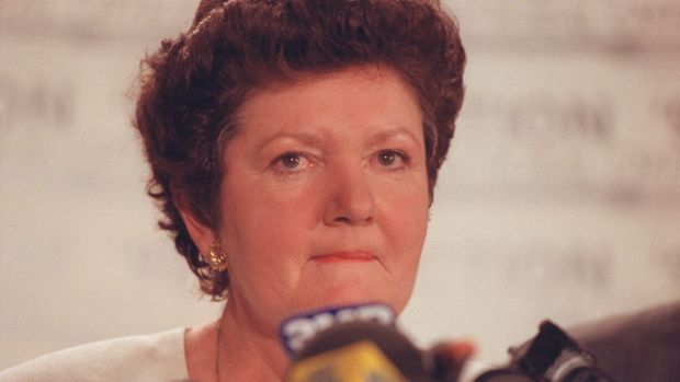 Joan Kirner concedes defeat at the tally room in October 1992.
