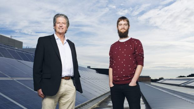 Professor Martin Green and  PhD student Mattias Juhl (right) at UNSW's School of Photovoltaic and Renewable Energy ...