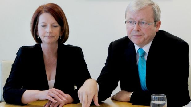 Former prime minister Kevin Rudd and Julia Gillard in an infamous appearance together after she replaced him as prime ...