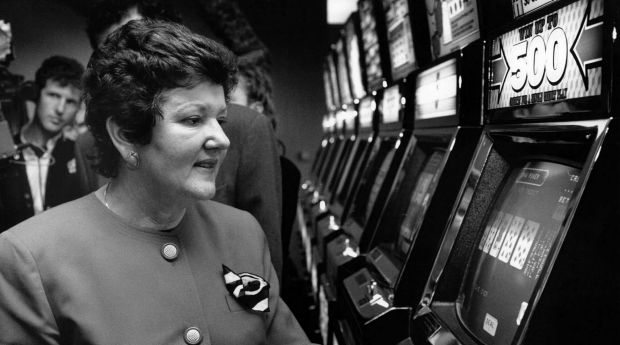 State Premier Joan Kirner opens the new poker machine venue at the Essendon Football Club Social Club in 1992.
