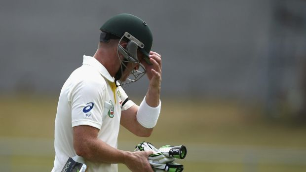 Brad Haddin of Australia looks dejected after being clean bowled by Devendra Bishoo of West Indies.