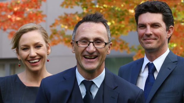 Richard Di Natale with his co-deputies senators Larissa Waters and Scott Ludlam.