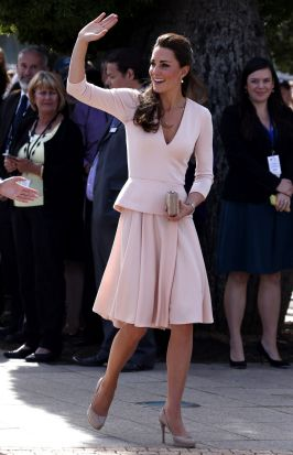 The Duchess of Cambridge waves to members of the crowd as she arrives at the Playford Civic Centre in the Adelaide ...