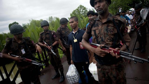 Repatriation in progress across the Myanmar-Bangladesh border in the sub-township of Taung Pyo, in the Myanmar state of ...