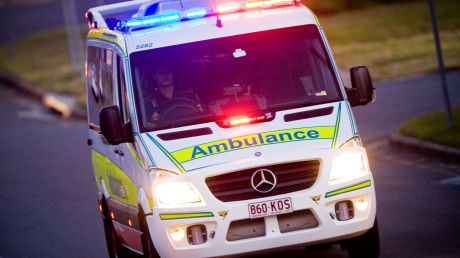 The man was rushed to hospital after he was hit by a piece of machinery.
