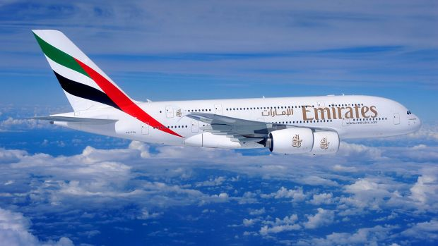 An Emirates A380-800. Not the plane on which the incident took place.