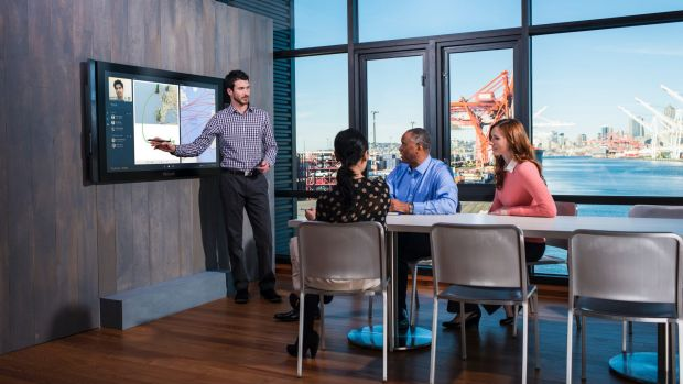 The Microsoft Surface Hub will be available with 84-inch or 55-inch screens.