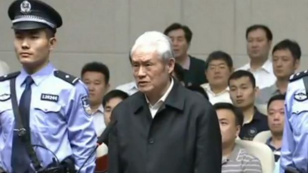 This screen grab taken from CCTV footage shows former Chinese security chief Zhou Yongkang on trial at the Intermediate ...