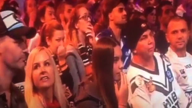 Stunned horror: Members of the live studio audience fell silent after the incident.