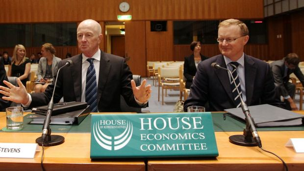 RBA governor Glenn Stevens and deputy Philip Lowe before the house economics committee in 2015.