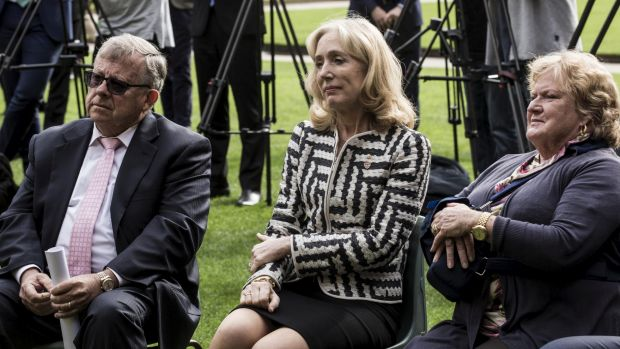 Donors Barry Lambert, far left, and Joy Lambert, far right, with University of Sydney Chancellor Belinda Hutchinson at ...