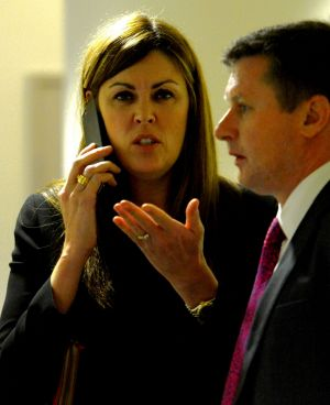 Prime Minister Tony Abbott's chief of staff Peta Credlin in the hallway of the Endeavour Hills police station after a ...