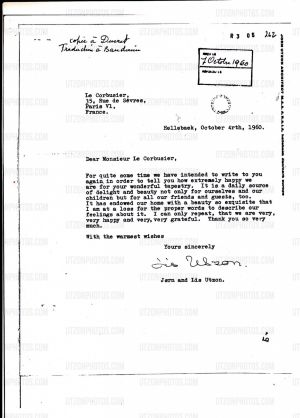 A 1960 letter from Utzon to Le Corbusier in which he describes the tapestry as a 'daily source of delight and beauty'.