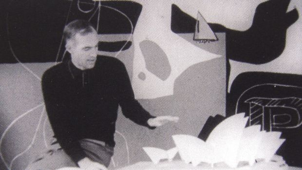 Sydney Opera House architect Jorn Utzon with the Le Corbusier tapestry in 1960 .