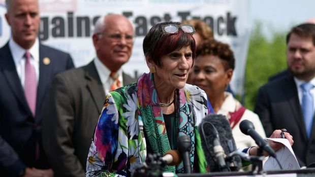 Democratic members of Congress led by Representative Rosa DeLauro of Connecticut hold a news conference to voice their ...
