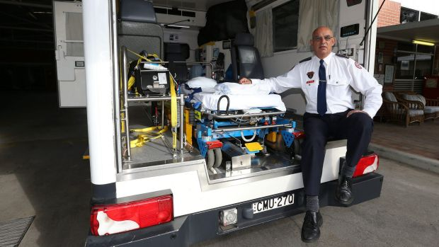 Fairfield Ambulance Inspector Audie Yousif with the bariatric ambulance, used for obese patients.