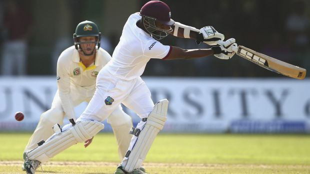 A pair on debut:  Rajendra Chandrika of West Indies edges and is caught off the bowling of Mitchell Starc.