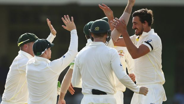 Mitchell Starc took the first two wickets to fall in the West Indies' second innings.