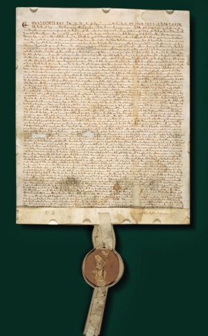 A copy of the Magna Carta, more than 700 years old, auctioned in 2007 at Sotheby's in London.
