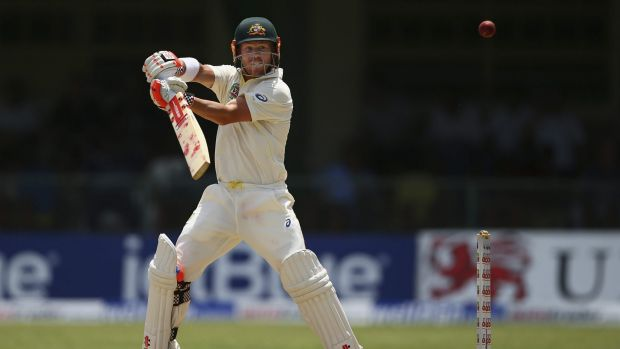 David Warner plays a lofted stroke towards gully on day three of the second Test in Kingston.