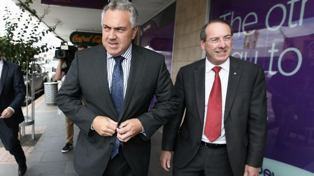 Member for Eden-Monaro Peter Hendy with then-Treasurer Joe Hockey in Queanbeyan earlier this year.