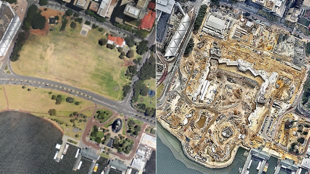 The Perth city foreshore in December 2011 (left) - and how it looked in April 2015, with construction of Elizabeth Quay ...
