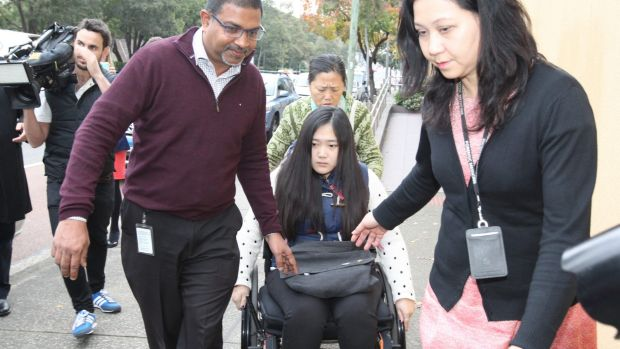 """Yinuo """"Ginger"""" Jiang, who broke both her legs when she jumped from her burning unit in Bankstown, at the Glebe Coroner's ..."""