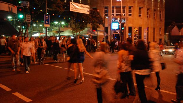 Crowds in Brisbane's Fortitude Valley nightclub and bar precinct.