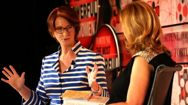 Former Australian prime minister Julia Gillard speaking in London at the Most Powerful Women summit hosted by Fortune ...