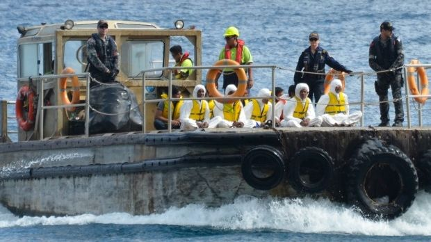 An asylum seeker boat off Christmas Island in 2013, containing mostly Iraqi, Iranian and Pakistani men.
