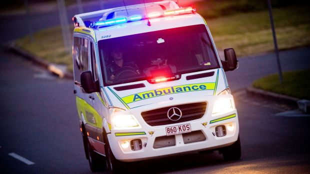 A man was killed and a woman injured when two motorcycles collided with a car.